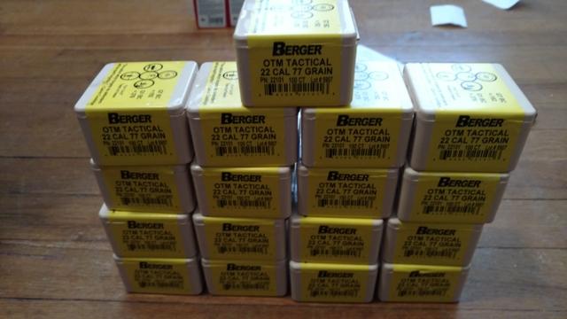 SOLD - 22 Cal Berger 77gr Match OTM Tactical Reloading Bullets
