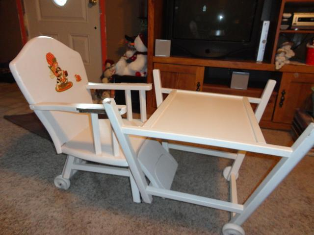 Old Wooden High Chair Folds Into Desk