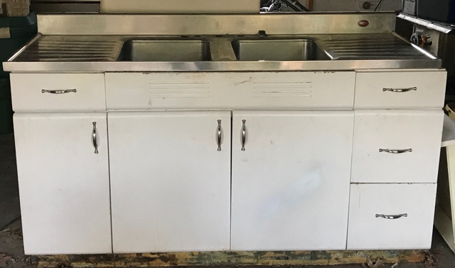 Vintage White Metal Cabinets Stainless Dbl Sink Top Nex Tech
