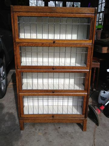 Antique Lundstrom Leaded Glass Barrister Bookcase