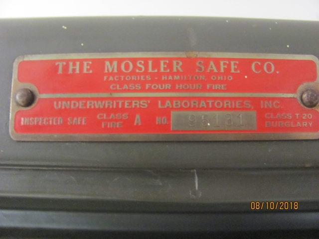 SOLD - Awesome Mosler Safe 4 Hr Fire Rated Great Gun Safe or Valuab