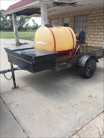 Trailer mounted tank and sprayer