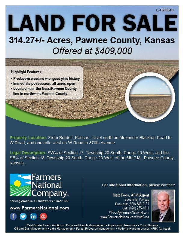 SOLD - Pawnee County Land for Sale