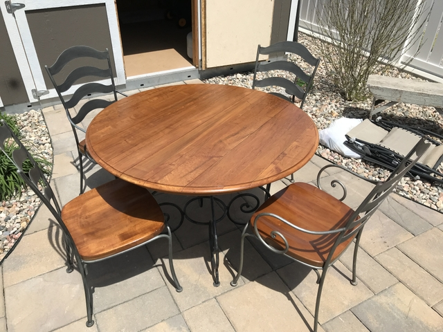 SOLD - Ethan Allen Solid Wood and Iron Dining Room Table Set
