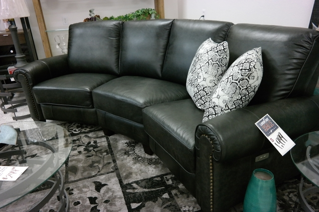 SOLD - NEW Leather Lacrosse Power Reclining Conversation Sofa