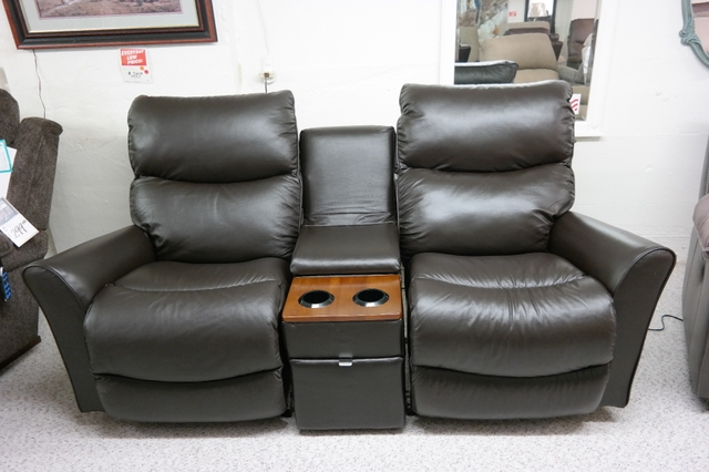 SOLD NEW LEATHER LA Z BOY ROWAN ROCKING LOVESEAT WITH CONSOLE