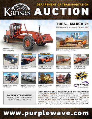 March 21 Kansas Department of Transportation auction - Nex-Tech