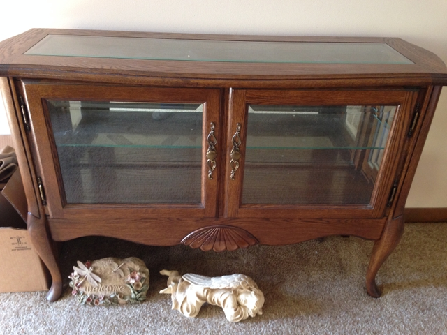 Sold Walnut Curio Coffee Table And Two End Tables