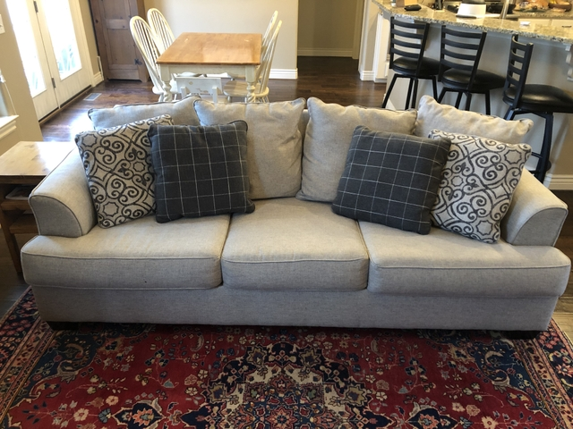 Ashley Sofa Couch With Throw Pillows