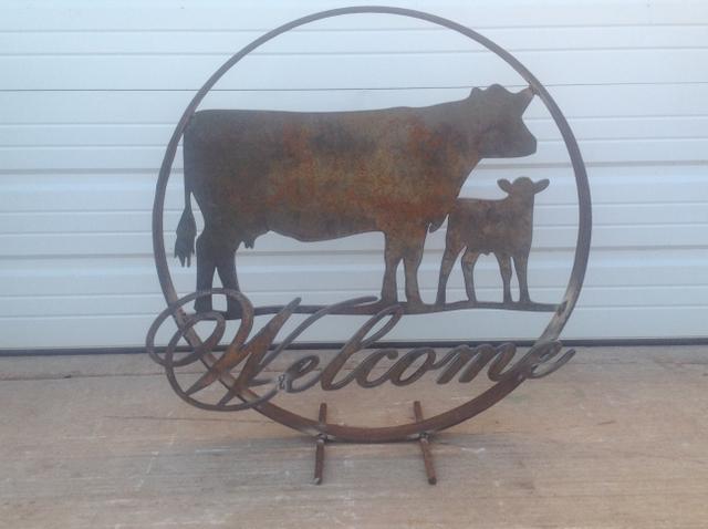Metal yard art  Cow calf ultimate gift idea