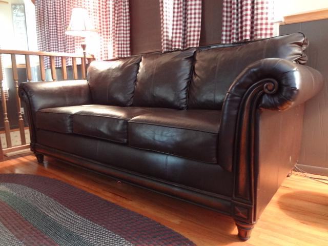 Nearly New Leather Sofa with Wood Trim