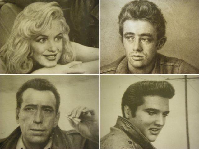 Marilyn Monroe James Dean Elvis Presley Humphrey Bogart Nex