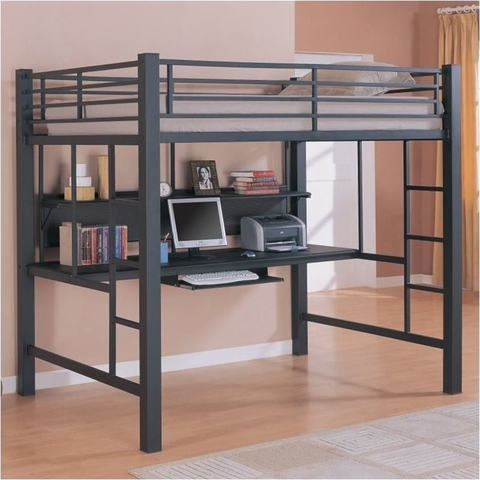 SOLD - Full size loft bed with desk
